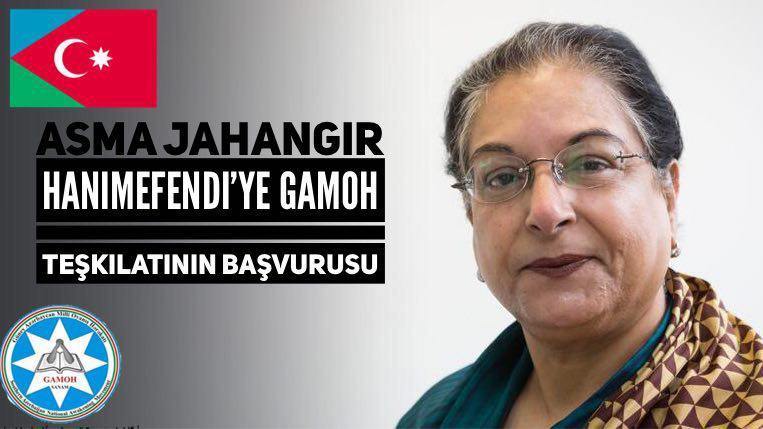 BM örgütünün insan hakları bölümünde İran masasından sorumlu olan Asma Jahangir Hanımefendi'ye GAMOH teşkilatının başvurusu